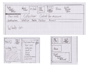 Sketches for navigation for mobile and desktop views of the Bristol Museums website