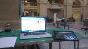 User testing at Bristol Museum with a laptop and an iPad