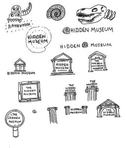 Sketches of hidden museum logo