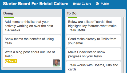 Screen shot showing trello in action